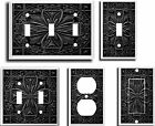 IMAGE OF FLORAL TILE BLACK LIGHT SWITCH COVER PLATE  U PICK PLATE SIZE