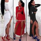 Sexy Womens Summer Two Piece Crop Top and Skirt Set Ladies Bandage Bodycon Dress