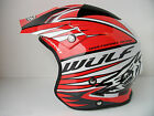 NEW WULFSPORT RED FIBREGLASS TRIALS HELMET (ALL SIZES) MONTESA BETA GASGAS REV
