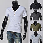 Men's Design V Collared Button Short Sleeved Casual Slim Summer T-Shirt Tee Tops