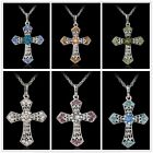 Silver Rhinestone CROSS With sparkle Crystal Pendant Necklace Chains gift new