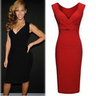 Sexy Women V-neck Bandage Stretch Cocktail Party Bodycon Pencil Dress Applied