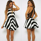 Casual Women Stripe Sleeveless Backless Evening Party Mini Dress Reliable HOT