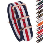 New Rose Gold Stripe Solid 18mm 20mm 22mm Nylon Nato Watch Strap Wristwatch Band
