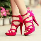 SEXY WOMENS OPEN TOE ANKLE STRAP STILETTO STRAPPY HIGH HEEL PLATFORM SANDALS