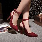 ELEGANT POINTY TOE WOMENS STILETTOS LADIES SUEDE BUCKLE STRAP SLINGBACK SANDALS