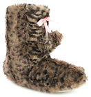 New Girls/Childrens Brown Leopard Bootee Slippers With Pom Pom & Bow. UK SIZES