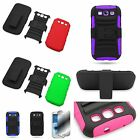 For Samsung Galaxy S3 Belt Clip Holster Hybrid Hard + Soft w/ Stand Cover Case