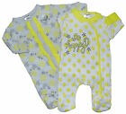 Baby Girls Two Pack Sleepsuits Baby Grows Pretty Floral 100% Cotton NB 0-3M 3-6M