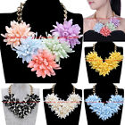 New Fashion Gold Chain Resin Flower Collar Choker Statement Pendant Bib Necklace