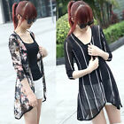 Summer Blouse Women Casual Cardigan Shawl Gauze Kimono Coat Stripe Floral Blouse