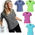 100% Cotton T-Shirt Womens Ladies Casual Short Sleeve V neck Summer Striped=60°C