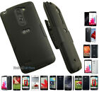 BLACK RIBBED RUBBERIZED HARD CASE COVER + BELT CLIP HOLSTER STAND FOR LG PHONE