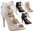 Ladies Women Cut Out Lace Up Zip High Heel Ankle Strappy Sandals Shoes Size Boot