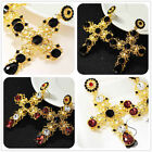 New Fashion Woman's Red/Black Crystal Cross Bling Stud Drop/Dangle Gold Earrings