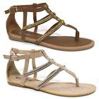 Ladies Gladiator Sandals Girls Womens Flat Strappy Fancy Summer Beach Shoes Size
