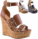 Ladies Block Heel Open Toe Wedge Strappy Buckle Faux Leather Sandals Shoes 3-8