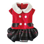 Winter& Autumn Small Dog Cat Pet Clothes Apparel Red Plaids Button Dress Costume