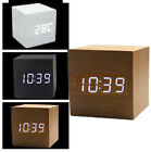 USB Cube Wooden Digital LED Desk Voice Control Alarm Clock Thermometer Automatic