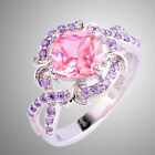 Gift Pink Topaz & Amethyst Gemstone Fashion Jewelry Silver Ring Size 6 7 8 9 10