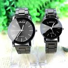 Luxury Women's Men's Fashion Black Stainless Steel Analog Quartz Wrist Watch