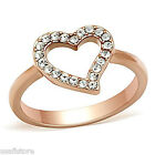 Heart With Crystal Stones Rose Gold EP Ladies Ring Size 4-5-6-7