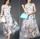 new woman lady embroidery flower Organza Floral long sundress party dress