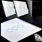 New 1/2/3 Gang Smart Touch Wall Control Light Switch Crystal Glass Panel 1 Way