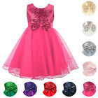 Girls Sequinned Dress Bow Party Prom Wedding Bridesmaid Flowergirl