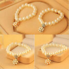 New Lady Chic Cuff Bracelet Gold/Silver Charm Pearl Crystal Girls Jewelry Party