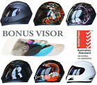 NEW FULL FACE MOTORCYCLE HELMET ADULT & FREE EXTRA VISOR ROAD BIKE MOTOR BIKE
