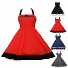 Swing 50s 60s VTG Plain Polka Dots Housewife Rockabilly Pinup Prom Party Dress