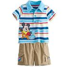 DISNEY STORE MICKEY MOUSE POLO SHIRT & SHORTS SET FOR BABY LOTS OF CUTE DETAIL