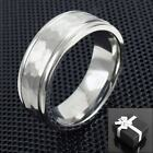 Titanium Men's Hammered Center Stripe Wedding Band Ring Size 9-13