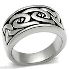 Interlock Detail No Stone Silver Stainless Steel Mens Ring