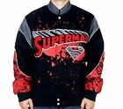 Superman Jacket Comic Splat Red Black Mens Twill Jacket NEW