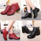 Women Lace-up Dance Shoes Fashion Leather Low-heeled Slip Resistant Ankle Boots