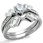 0.48ct Round Cut CZ Silver Stainless Steel Wedding Engagement Ring Set