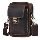 Mens Rustic Leather Fanny Pack Waist Leather Belt Bag Pouch for iPhone 6 plus