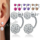 New Women Fashion Jewelry CUTE Silver Plated Double Beads Crystal Stud Earrings