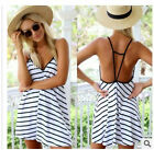 Boho Sexy lady V NECK Backless Summer stripe tops shirt Dress UK Size hot