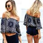 Women Sexy Boho Off Shoulder Medium Sleeve Print Ruffle Tops Blouse S-XL N4U8