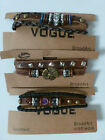 Ethnic Craft Leather Multi Strand Bracelet with Metal and Beads (3 Asst)