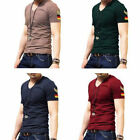 Fashtion Badge Men Casual Short Sleeves T-shirt Cotton Slim Fit V-neck Tee Tops