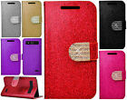 For ZTE Overture 2 Diamante Glitter Leather Wallet Pouch Flip Phone Cover