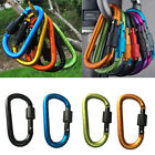 10 Aluminum Lock Carabiner Clip Snap Hook D-Ring Screw Keychain Camping Outdoor