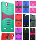 For ZTE lever Z936 Hard Gel Rubber KICKSTAND Hard Case Phone Cover +Screen Guard