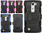 For LG Volt 2 Combo Holster HYBRID KICKSTAND Rubber Case Cover +Screen Protector
