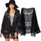 Women Lace Splicing Hollow Cardigan Blouse Kimono Coat Tops loose jackt