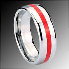 8MM Tungsten Red Resin Inlay Wedding Band Ring SZ 5-12